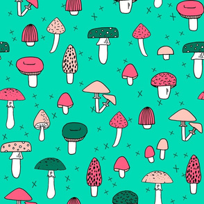 Mushrooms - Light Jade background by Andrea Lauren