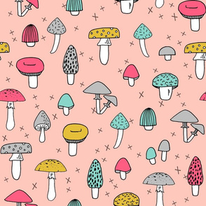 Mushrooms - Pale Pink background by Andrea Lauren