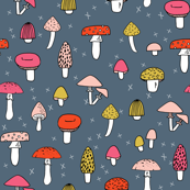 Mushrooms - Payne's Grey background by Andrea Lauren