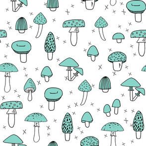 Mushrooms - Pale Turquoise by Andrea Lauren
