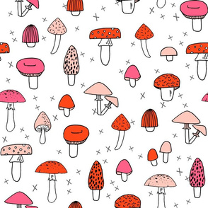Mushrooms - White, Red, and Pink by Andrea Lauren