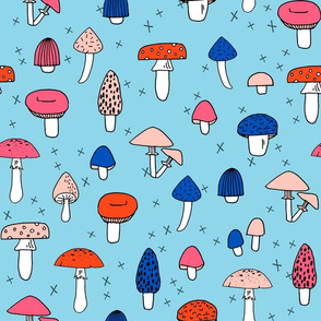 Mushrooms - Sky Blue by Andrea Lauren