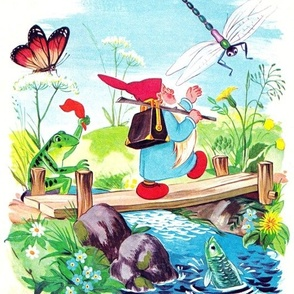 gnomes elf elves pixies butterfly flowers dragonfly frogs toads lakes rivers fishes vintage retro kitsch trekking hiking