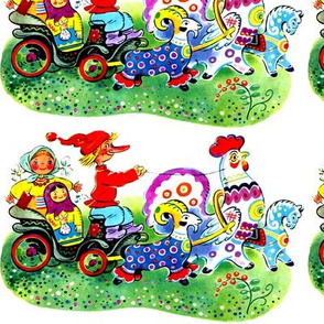 gnomes farmers peasants Matryoshka dolls carts wagons goats roosters horses colorful rainbow polka dots spots flowers rams russian vintage