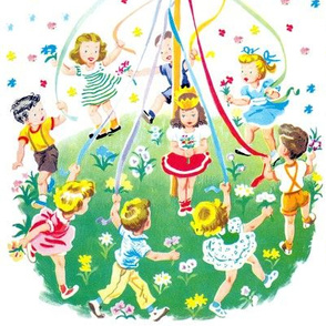 maypole midsummer children colorful flowers ribbons boys girls queens tiaras crowns dance dancing rainbow flags vintage retro kitsch may day