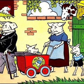 pigs chickens hens animals farms children family parents fathers mothers baby stroller trams toys horses Anthropomorphic story stories barns trees