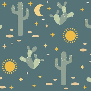 Cactus, moon and stars