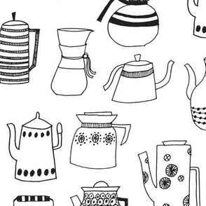 Coffee and Tea - Black and White Teapots by Andrea Lauren