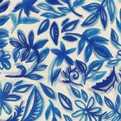 Floating Garden - a watercolor pattern in blue