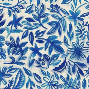 Floating Garden - a watercolor pattern in blue