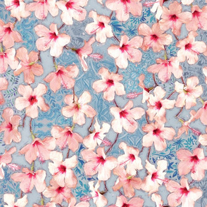 Shabby Chic Painted Hibiscus Pattern - pink & blue