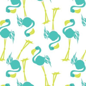 Flamingos in Teal