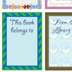 6 blank bookplates