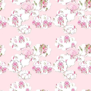 Shabby Chic Clouds on pink