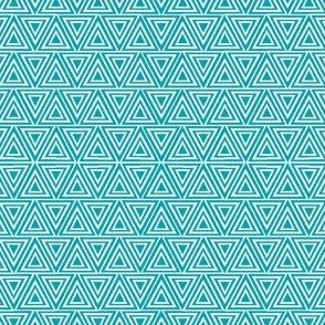 Layered triangles in teal ocean blue