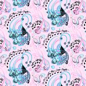 Guitar Beaks, Musical Birds- Music Notes- Light Pink Background- Light Blue, Pastel