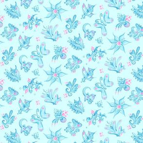 Blue Designs- Large- Light Blue Background- Swirly Shapes Designs