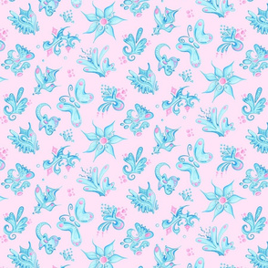Blue Designs- Large- Pink Background- Swirly Shapes Designs