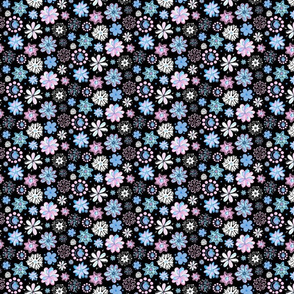 Flattering Flowers- Small- Black Background- Blue Black Pink Swirly Flowers Pastel Designs