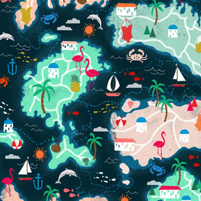 Islands - Tropical Illustrated Islands Map Textile by Andrea Lauren