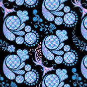 Scales- Large- Black Background- Blue Pink Pastel Designs