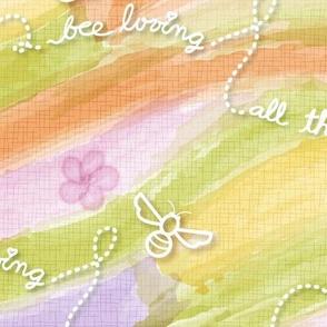 Cursive Fabric Bees