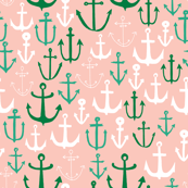 Anchors - Pale Pink/Jungle Green/Kelly Green by Andrea Lauren