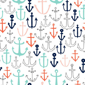 Anchors - Pale Turquoise/Pale Pink/Coral/Oxford Blue by Andrea Lauren