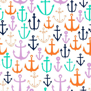 Anchors - Wisteria/Light Jade/Orange/Oxford Blue by Andrea Lauren