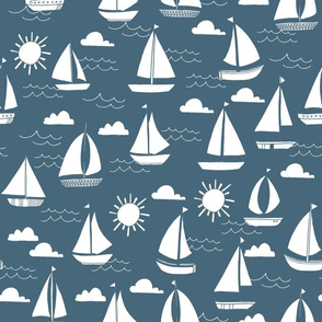 Sailboats - Payne's Gray by Andrea Lauren