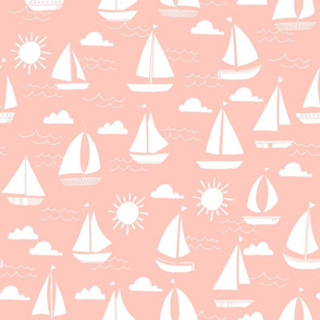 Sailboats - Pale Pink by Andrea Lauren