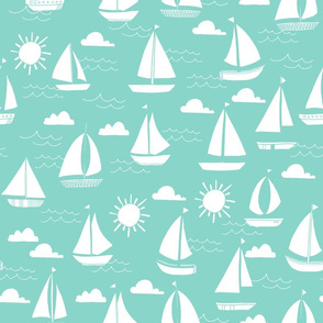 Sailboats - Pale Turquoise by Andrea Lauren