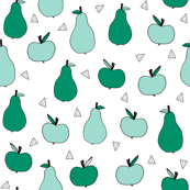 Apples and Pears - Pale Turquoise/Green by Andrea Lauren