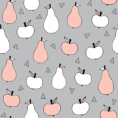 Apples and Pears - Light Grey/Pale Pink by Andrea Lauren