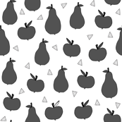Apples and Pears - Charcoal - Greyscale by Andrea Lauren