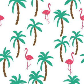 Palm Tree and Flamingo - Jungle Green/Razmatazz Pink by Andrea Lauren