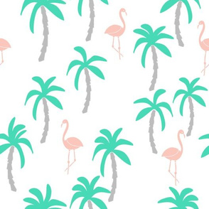 Palm Trees and Flamingos - Light Jade/Pale Pink by Andrea Lauren