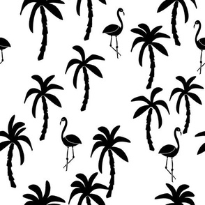 Palm Trees and Flamingos - White and Black