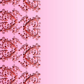Pink Floral Hearts Border Fabric