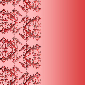 Red Floral Hearts Border Fabric