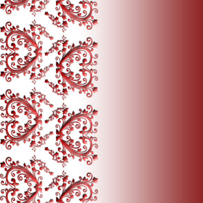 Dark Red Floral Hearts Border Fabric