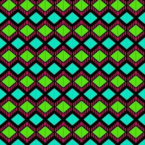 Triple Squares Green Red Blue