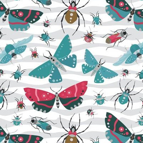 The Bug Invasion - Teal & Reds