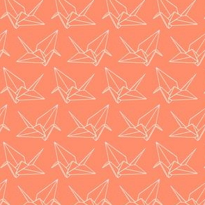 Origami Crane Outlines: Coral