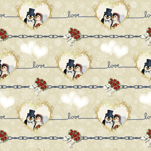 Penguin Wedding Hearts On Beige