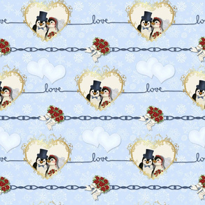 Penguin Wedding Hearts On Blue