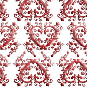 Florial Hearts Seamless Pattern White