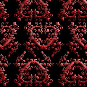 Floral Hearts Seamless Pattern Black