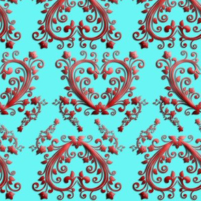 Floral Hearts Seamless Pattern Turquoise Blue