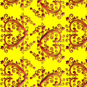 Floral Hearts Seamless Pattern Yellow